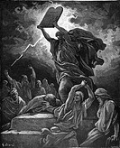 Gustave Doré, Moses Breaking the Tablets of the Law, Black and White Engraving