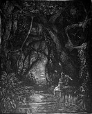 Gustave Doré, The Deep Mid Forest from Chactas and Atala, a novella by François-René de Chateaubriand, Black and White Engraving