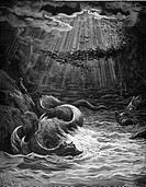 Gustave Doré, The Creation of Fish and Birds from John Milton's Paradise Lost, Black and White Engraving