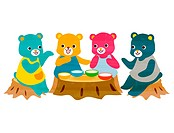 Illustration of four bears eating at a tree stump table