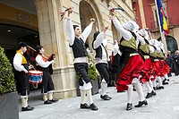 Folk dance, Asturian folklore, Plaza mayor, Gijon, Asturias  Spain.