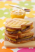 Chocolate and mango toasted sandwich