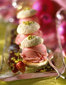 Pistachio macaroon with wild strawberry sorbet