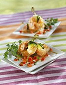 Dublin Bay prawn and zucchini mini brochettes