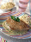 Tuna steak with parsley butter
