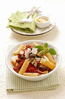 Rigatoni with grilled aubergines, capers and dried tomatoes