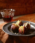 Four Cheese Filled Figs, Glass of Wine