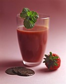 Strawberry juice,chocolates and mint leaf