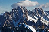 Aiguille Verte, Aiguille du Dru, Les Droits, Mont Blanc massif, Haute-Savoie, France, Europe