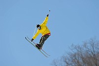 Male Freestyle Skier Getting Some Air