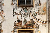 Wall paintings and sundial on the rear facade of the Hirschenhaus building, Berchtesgaden, Berchtesgadener Land, Upper Bavaria, Bavaria, Germany, Euro...