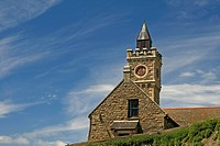 Porthleven, Bickford_Smith Institute, clock tower in the southwest of Cornwall, southwest England, UK