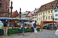Muenstermarkt square, Freiburg im Breisgau, Baden-Wuerttemberg, Germany, Europe