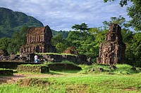 My Son cluster of abandoned and partially ruined Hindu temples  Vietnam, Asia