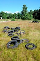 Old car tires on a green mead in Poland, Mazovia region