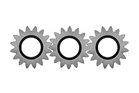 Three intermeshed gears