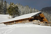 Mountain lodge in the snowy Bavarian Alps, Sudelfeld, Bavarian foothills, Bavaria, Germany, Europe