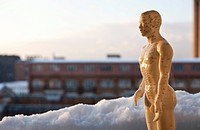 Acupuncture figure in the snow in front of old industrial buildings, half figure at dusk