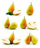 Set of Ripe Pear Fruits Isolated on White