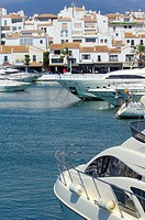 Exclusive yacht harbour of Puerto Banús, Marbella, Costa del Sol, Málaga province, Andalusia, Spain.