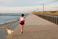 Woman with dog jogging on the beach