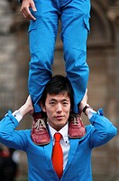Acrobats at the Edinburgh fringe festival 2010, Scotland
