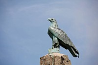 Eagle figure, Fliegerdenkmal aviator memorial, Wasserkuppe, Rhoen, Hesse, Germany
