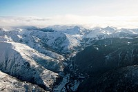 Salardu  Aran Valley, aerial view  Pyrenees  Lerida province  Catalonia  Spain