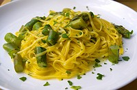 Tagliatelle with asparagus. Restaurant at Piazza Santo Spirito, Florence, Italy.