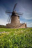 Windmill in Southern France  Languedoc-Roussillon, France