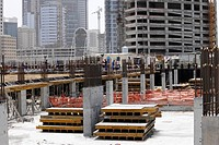 Construction workers on a large construction site, Dubai, United Arab Emirates, Middle East