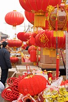 Chinese Lunar New Year decorations in market, Tianjin, China