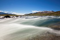 Rapids on the Alisjavri River, Kungsleden, The King´s Trail, Lapland, Sweden, Europe