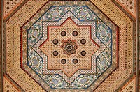 Painted ceiling in the El Bahia Palace, Medina of Marrakesh, Unesco World Heritage Site, Morocco, North Africa