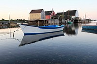 Fish shacks and boats in the fishing village of Blue Rocks near Lunenburg Nova Scotia