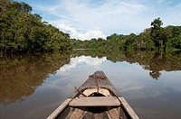 The bow of a canoe navigates the Amazon River of Peru.