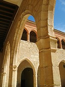 Courtyard of castle, Mora de Rubielos, Teruel province, Aragon, Spain
