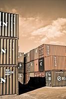 Containers close to Algeciras harbour, Cadiz province, Andalusia, Spain