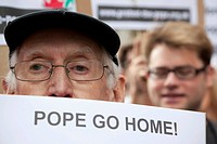 Protest march against the state visit of Pope Benedict XVI in London, England, United Kingdom, Europe