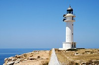 Lighthouse, cliffs, Cap de Barbaria, Mediterranean Sea, Formentera, Pityuses, Balearic Islands, Spain, Europe