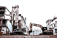 Excavator knocking down a building, Residenzpost Munich, Bavaria, Germany, Europe