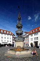 Marienbrunnen fountain on Altstadtmarkt square, Braunschweig, Lower Saxony, Germany, Europe