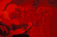Spain, Sevilla, Andalucia Flamenco guitarist under red lights