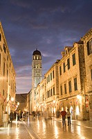 Croatia, Dalmatia, Dubrovnik. Stradun also known as Placa, the main street which crosses the old city, at dusk. The historic center of Dubrovnik is a ...