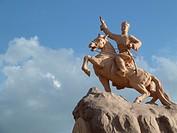 Equestrian statue of Sukhbaatar on Sukhbaatar Square, Ulaanbaatar, Mongolia, Asia