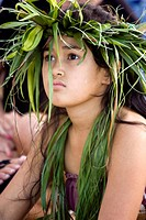 Polynesia, Cook Islands, Rarotonga. Portrait of a Rarotongan girl in native costume. Credit: Wendy Kaveney / Jaynes Gallery / DanitaDelimont.com