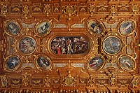 Coffered ceiling, Goldener Saal hall in the town hall, Augsburg, Schwaben, Bavaria, Germany, Europe