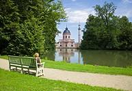 Person on a park bench, Mosque, Schloss Schwetzingen or Schwetzingen Castle palace gardens, Schwetzingen, Baden-Wuerttemberg, Germany, Europe