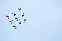 PC-7 team flying in formation, second aerobatic team of the Swiss Air Force, Emmen, Switzerland, Europe