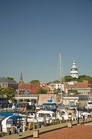 Annapolis city docks, with historic State Capitol Building in distance also known as State House, Annapolis, Maryland, United States
